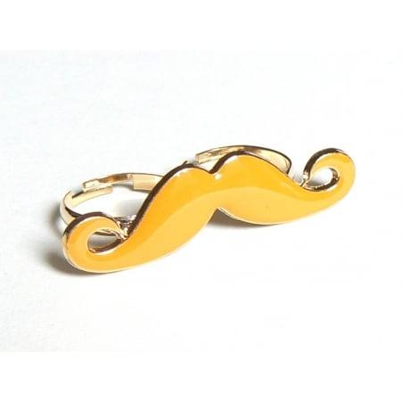 Une double bague moustache orange  - 1