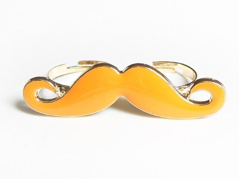 Une double bague moustache orange  - 2