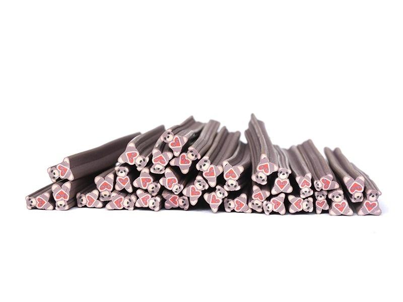 Cane Teddy Bear Coeur- en pâte polymère pour le modelage  - 1