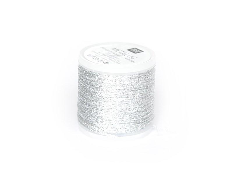 Bobine 50 m de fil à broder - argent Rico Design - 1