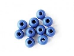 10 perles rondes en bois vernis - Bleu marine 8 mm