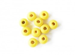10 round, varnished wooden beads - yellow (8 mm)