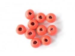 10 perles rondes en bois vernis - Rouge 10 mm