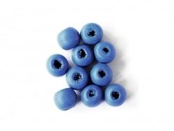 10 perles rondes en bois vernis - Bleu marine 10 mm