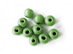 10 round, varnished wooden beads - green (10 mm)