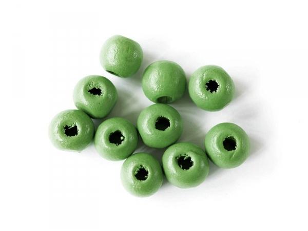 10 perles rondes en bois vernis - Vert 10 mm