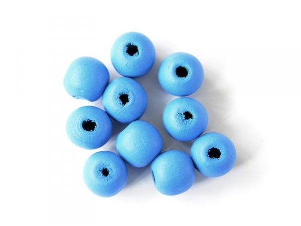 10 round, varnished wooden beads - sky blue (10 mm)