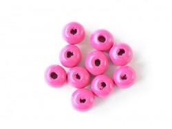 10 runde Perlen aus lackiertem Holz - Rosa (10 mm)