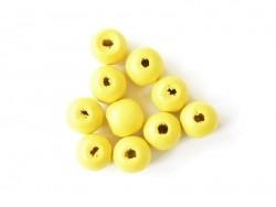10 runde Perlen aus lackiertem Holz - gelb (14 mm)