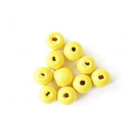 10 perles rondes en bois vernis - Jaune 14 mm