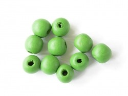10 round, varnished wooden beads - green (14 mm)