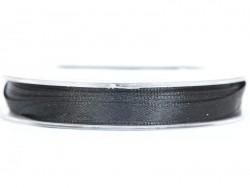 Bobine de ruban satin uni noir - 7 mm