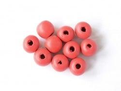 10 perles rondes en bois vernis - Rouge 14 mm
