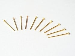10 copper-coloured head pins - 15 mm
