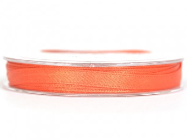 Bobine de ruban satin uni orange - 7 mm