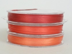 Ruban satin uni orange - 7 mm