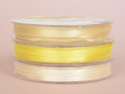 Ruban satin uni jaune - 7 mm