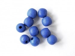 10 round, varnished wooden beads - navy blue (14 mm)