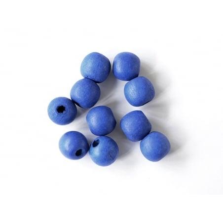 10 perles rondes en bois vernis - Bleu marine 14 mm
