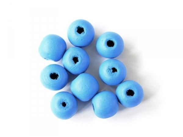 10 perles rondes en bois vernis - Bleu ciel 14 mm