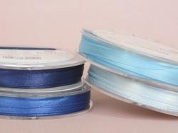 Bobine de ruban satin uni turquoise - 7 mm