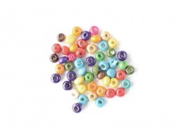 50 round, varnished wooden beads in various colours - 4 mm