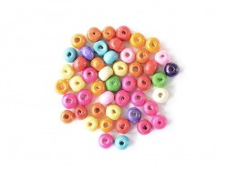 50 round, varnished wooden beads in various colours - 8 mm