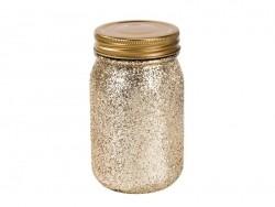 "Small mason jar - ""Be happy"" - Golden glitter"