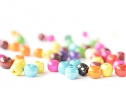 50 round, varnished wooden beads in various colours - 12 mm
