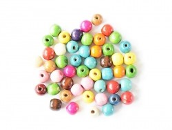 50 round, varnished wooden beads in various colours - 14 mm