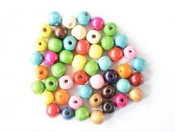 50 runde, bunte Perlen aus lackiertem Holz - 16 mm