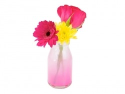 Small milk bottle - retro design - tie and dye pink