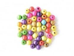 Acheter 50 perles rondes multicolores en bois vernis - 18 mm - 4,50€ en ligne sur La Petite Epicerie - 100% Loisirs créatifs