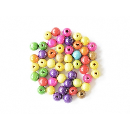 50 perles rondes multicolores en bois vernis - 18 mm