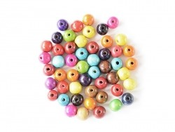 50 round, varnished wooden beads in various colours - 20 mm