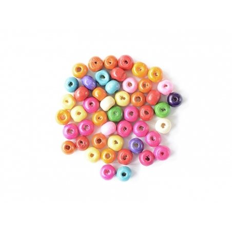 50 perles rondes multicolores en bois vernis - 6 mm  - 1