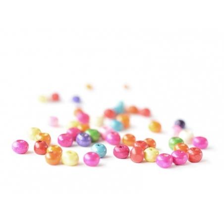 50 perles rondes multicolores en bois vernis - 6 mm