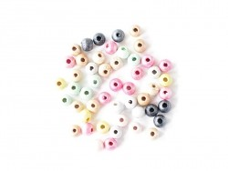 50 round, varnished wooden mother-of-pearl beads in various colours - 6 mm