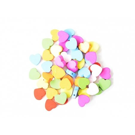 50 perles coeur en bois vernis - 18 mm