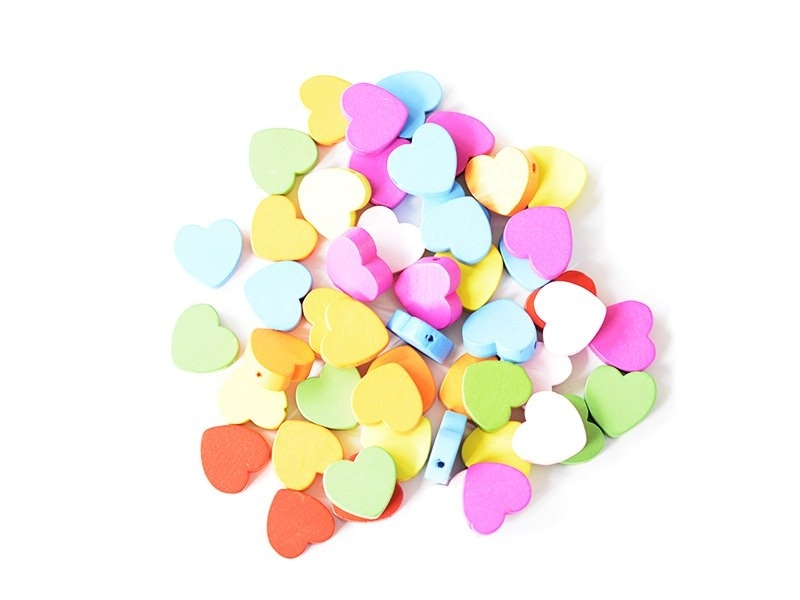 50varnished wooden beads - Heart (18 mm)