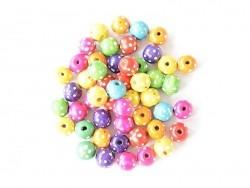 50 perles rondes à pois en bois vernis - 18 mm