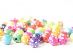 50 runde, gepunktete Perlen aus lackiertem Holz - 18 mm
