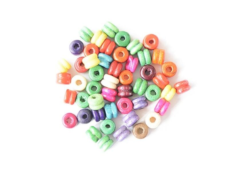 50 perles en bois vernis - Double-rondelles 6 mm