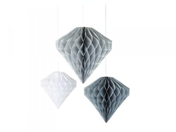 Diamants en papier alvéolé gris blanc et argenté - lot de 3
