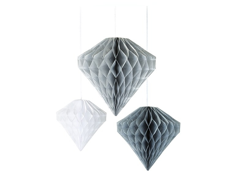 Honeycomb paper diamonds in grey, white and silver - pack of 3
