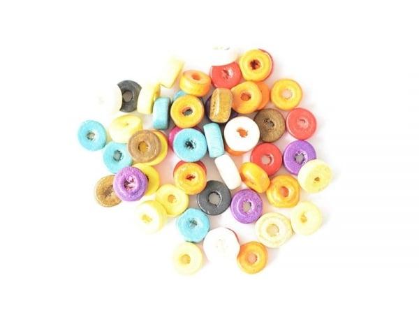 50 perles en bois vernis - Rondelle 8 mm
