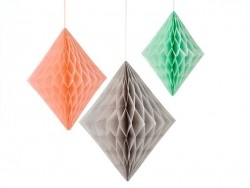 Honeycomb paper diamonds in peach and mint - pack of 3