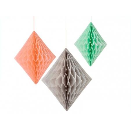 Diamants en papier alvéolé pêche et menthe - lot de 3