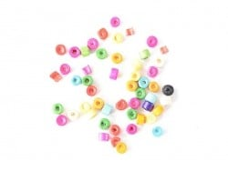 50 perles en bois vernis - Rondelle 4 mm