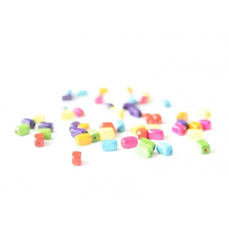 50 varnished wooden beads - Rectangle (8 mm)